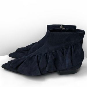 brand new JW Anderson blue suede ruffle ankle boot